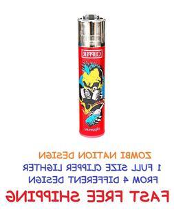 1 Full Size CLIPPER Refillable Cigarette Lighters FUNNY ZOMB