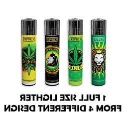 1 Full Size CLIPPER Refillable Lighter ROTATIONAL GREEN LEAV