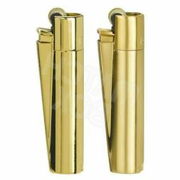 1 x Full Size Refillable Metal Clipper Lighter Gold / Gold W
