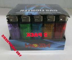 100 Count  2 Pack of 50 Neon Premium Disposable Butane Cigar