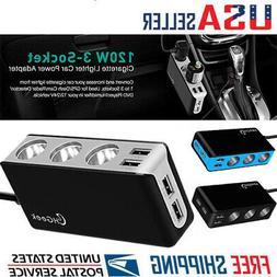 12V Car Cigarette Lighter Power Splitter 4 USB Charger Ports