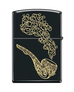 Zippo 1304, Pipe and Smoke, Black Matte Pipe Lighter, PL Ins