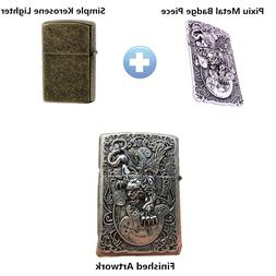1pc Pixiu Metal Badge DIY replacement for <font><b>Zippo</b>