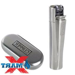 1x Silver Full Size Refillable Adjustable Flame Metal Clippe