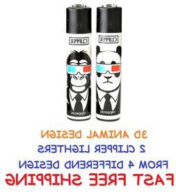 """48 Full Size CLIPPER Refillable Lighters /""""ANIMALS 21/"""" EYES Lighter Animal Eye"""