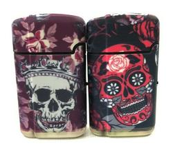 2 Mexican SUGAR SKULL Design Wind Proof TORCH Lighters Refil