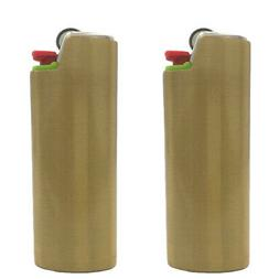 2  Brushed Metal Lighter Covers / Sleeves / Holders for larg