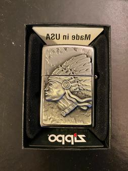 2015 Zippo Indian Head Lighter With Beautiful 3D Emblem New