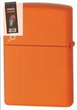 Zippo 231zl orange matte w/ logo Lighter + FLINT PACK