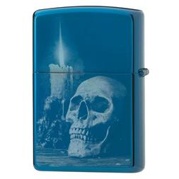 "Zippo 29704,  ""Skull and Candle"" High Polish Blue Finish Lig"
