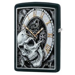 """Zippo 29854, """"Skull and Clock Design"""" Black Matte Finish Lig"""