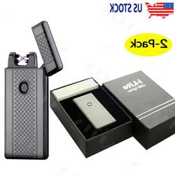 2X WINDPROOF USB ELECTRIC LIGHTER Rechargeable Double ARC Fl
