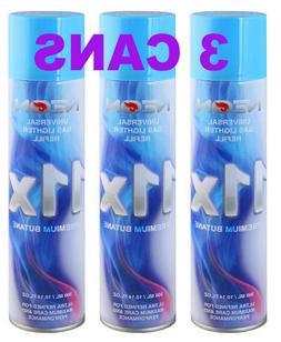 3 Can NEON 11X Filtered Butane Ultra Premium Refined Refill