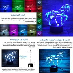3D Horse Lamp Optical Illusion Night Light For Room Decor &