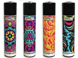 4 Full Size CLIPPER Refillable Lighter ROTATIONAL PSYCHEDELI