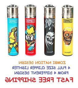 4 Full Size CLIPPER Refillable Cigarette Lighters FUNNY ZOMB