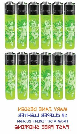 4 Full Size CLIPPER Refillable Lighter MARY JANE CANNABIS LE