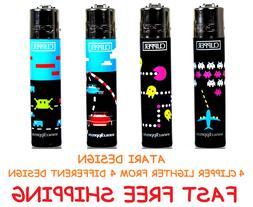 4 Full Size CLIPPER Refillable Lighters ATARI PACK-MAN FROGG