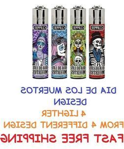 4 Full Size CLIPPER Refillable Lighters DIA DE LOS MUERTOS L