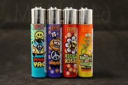 4 New Refillable Original Clipper Lighters Hippi Design