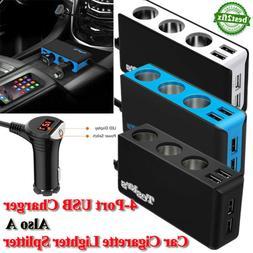 4 USB Ports Car Cigarette Lighter Adapter 3 Socket Splitter