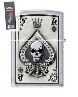 Zippo 4858 Ace of Spades Skull Satin Chrome Finish Lighter +