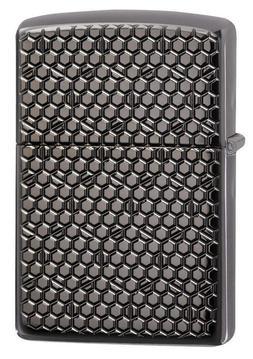 Zippo 49021, Armor, Deep Carved Hexagon Design, Black Ice Li