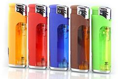 5 Pack 5-flags Refillable Butane Lighter Assorted Colors wit
