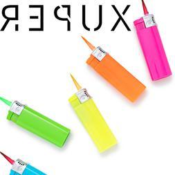 5 Pack Xuper Color Jet Flame Lighters Windproof Adjustable &