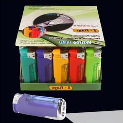 50 ct 5-Flags Electronic Lighters - LED flashlight  - Free S