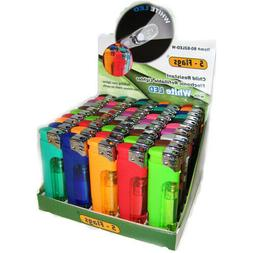 50 Pack 5-Flags Refillable Butane Lighter Ass. Colors White