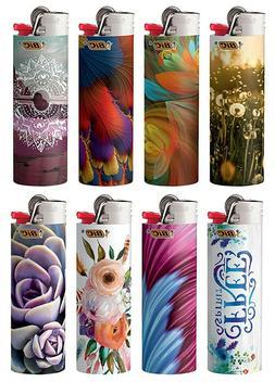 8 Bic Lighters Bohemian Geometric Regular Size Disposable