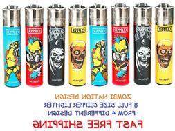 8 Full Size CLIPPER Refillable Cigarette Lighters FUNNY ZOMB
