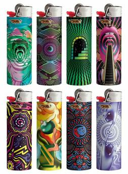 8 Bic Lighters Prismatic Multicolor Swirling Pattern Owl Tig