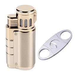 Cigarette Cigar Lighter Triple Jet Flame Butane Torch Combo