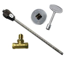 Quarter-Turn Ball Valve with Chrome Floor Plate and 3-inch Key Dante Products Combo Pack with Straight 1//2-Inch