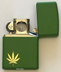 Zippo Engraved Gold Marijuana Leaf Lighter With Pipe Insert,