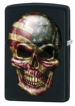 Zippo Lighter: American Flag Skull - Black Matte 79101