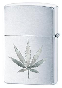 Zippo Brushed Chrome Leaf with Pipe Insert Pocket Lighter