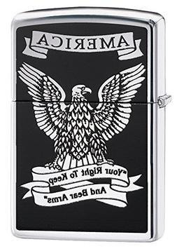Zippo American Eagle Pocket Lighter, High Polish Chrome