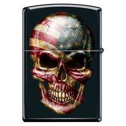 American Flag Skull Face Black Matte Custom Zippo Windproof