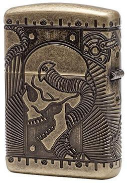 Zippo Armor Antique Brass Steampunk Pocket Lighter, MultiCut