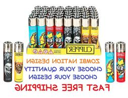 BIG Size CLIPPER Refillable Full STYLE Lighters ZOMBIE NATIO