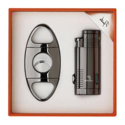 PIPITA Black Cigar Gift Set 3 Torch Jet Flame Butane Gas Cig