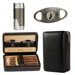 CIGARISM Black Leatherette Cedar Cigar Case Humidor Cutter L