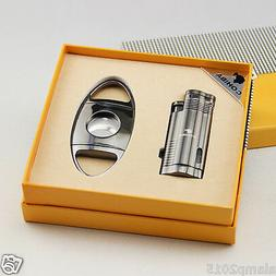 COHIBA Black Metal 3 Torch Jet Flame Cigar Lighter With Ciga