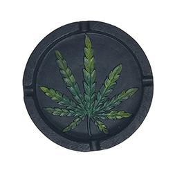 PolyPlus Black Pot Leaf Shape Cigarette Ashtray for Outdoors