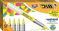 BIC Brite Liner Flex Tip Highlighter, Yellow, 12-Count