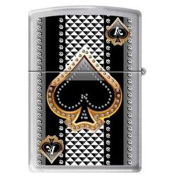 "Zippo ""Ace of Spades"" Brushed Chrome Lighter, 7951"