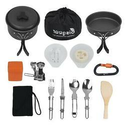 16pcs Camping Cookware Stove Carabiner Folding Spork Set Bis